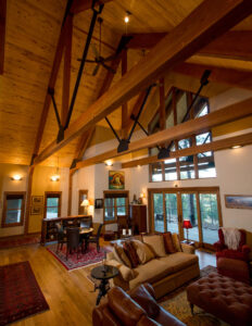 Custom trusses adorn this Durango mountain home by Buena Vista Builders